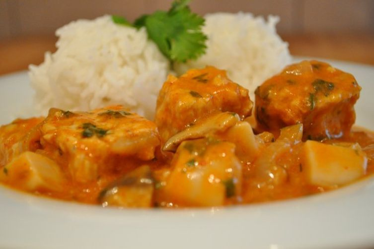 Coconut Curry Tempeh with fresh TrumpetMushrooms