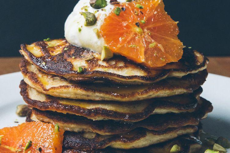 Gluten-Free Almond Pancakes with Honeyed Oranges andPistachios 1