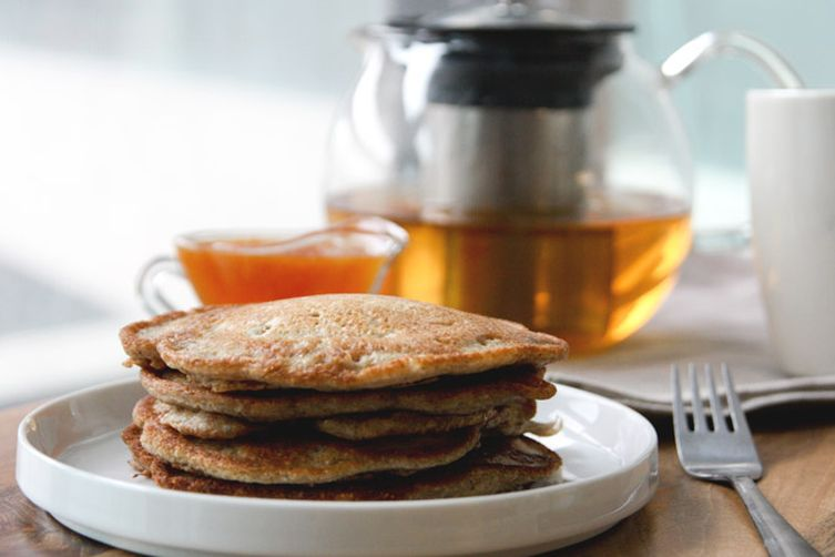 Spiced Pear and Buckwheat Pancakes with Orange-HoneyTopping