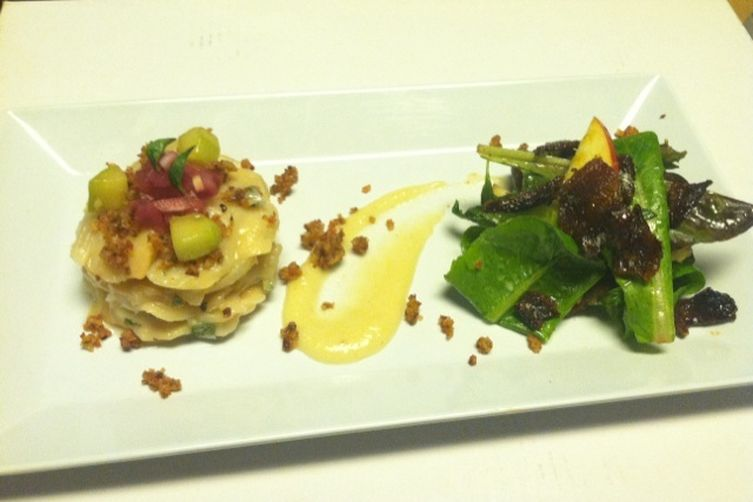 Scallop Ceviche, Fall Apple, CandiedBacon 1