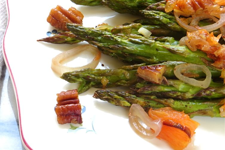 oven roasted asparagus with oranges and pecans 1