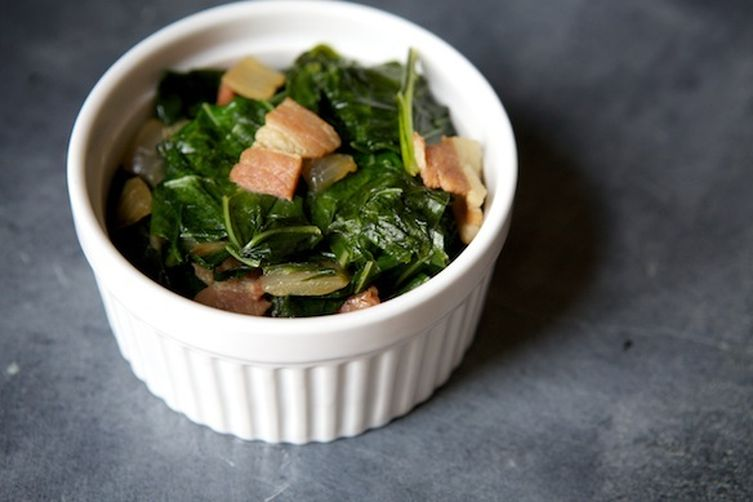 Beer and Bacon Braised CollardGreens 1