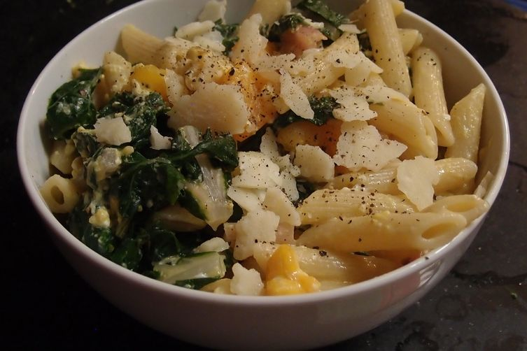 Penne with Swiss Chard, Yellow Tomatoes and Parmesan 1