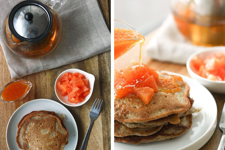 Spiced Pear and Buckwheat Pancakes with Orange-HoneyTopping 1